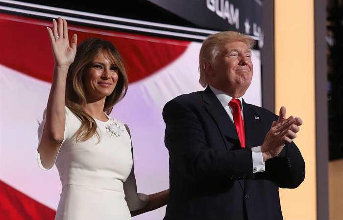 Melania y Donald Trump durante la Convención Republicana. Foto: EFE