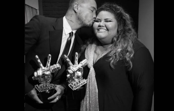J Balvin y Yuliana Martínez ganan 'La Voz' México. Foto: Instagram.
