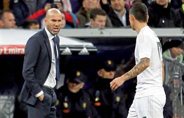 James Rodríguez y su frío saludo con Zinedine Zidane