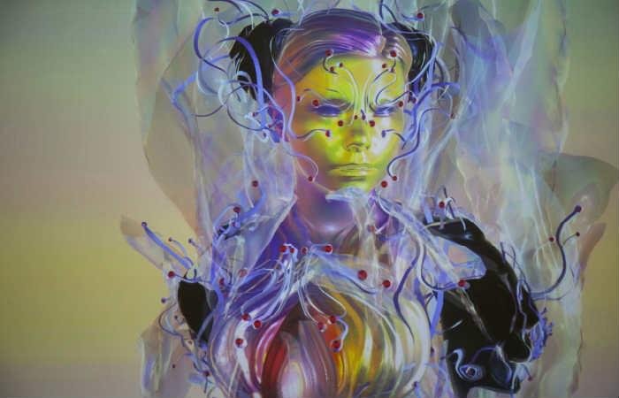 Björk apareció en holograma ante cientos de asistentes en una exposición
