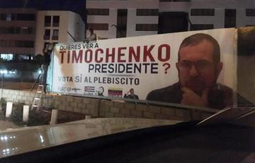 """Valla con el rostro de """"Timochenko"""" por el No al plebiscito"""