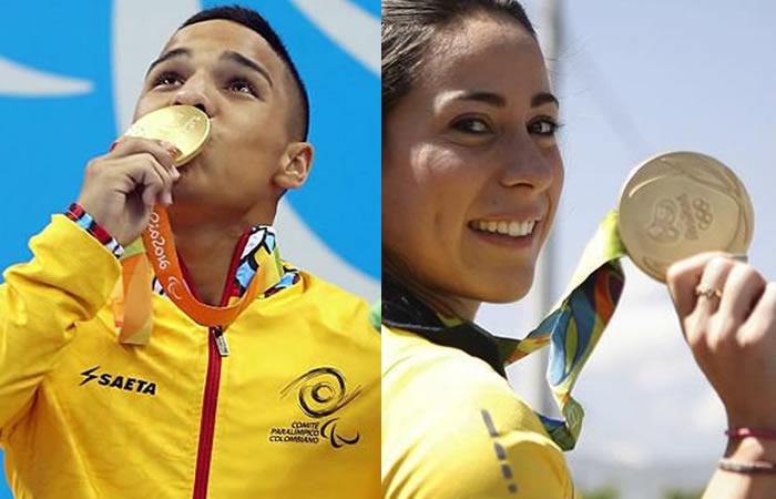 Carlos Serrano y Mariana Pajón, medallas de oro en Río 2016. Foto: EFE