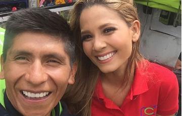 Nairo Quintana no aguantó la risa en la caída de Melissa Martínez