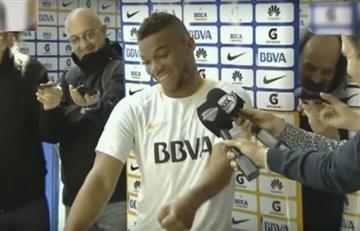Frank Fabra se pone a bailar en plena rueda de prensa