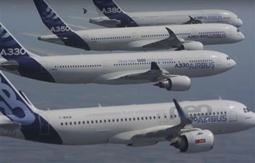 4 Airbus sincronizan su vuelo