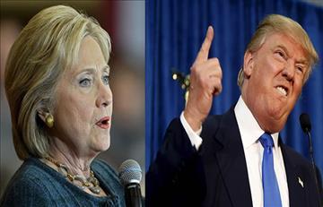 Donald Trump y Hillary Clinton al primer debate