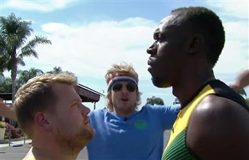Usaín Bolt compite ante Owen Wilson y James Corden