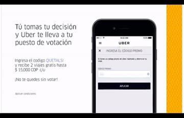 Plebiscito: Uber ofrece recorridos gratis hacia puestos de votación