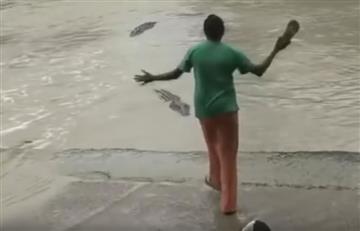 YouTube: Cocodrilo es ahuyentado con el golpe de una chancleta