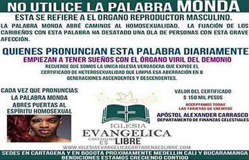 Iglesia ofrece certificados de heterosexualidad por 150 mil pesos