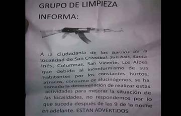 Bogotá: Amenazan con limpieza social en cinco barrios