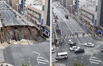 Ciudad japonesa logró tapar un agujero en solo 48 horas