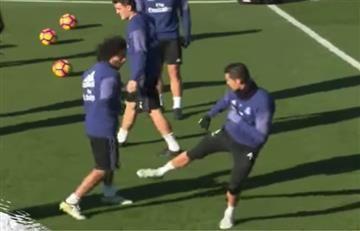 Real Madrid: Cristiano Ronaldo y Marcelo se distraen 'peleando'