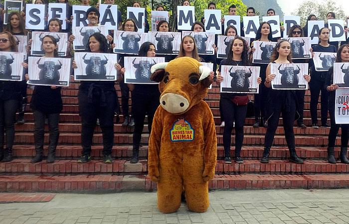 Así fue la protesta en contra de las corridas de toros. Foto: Interlatin