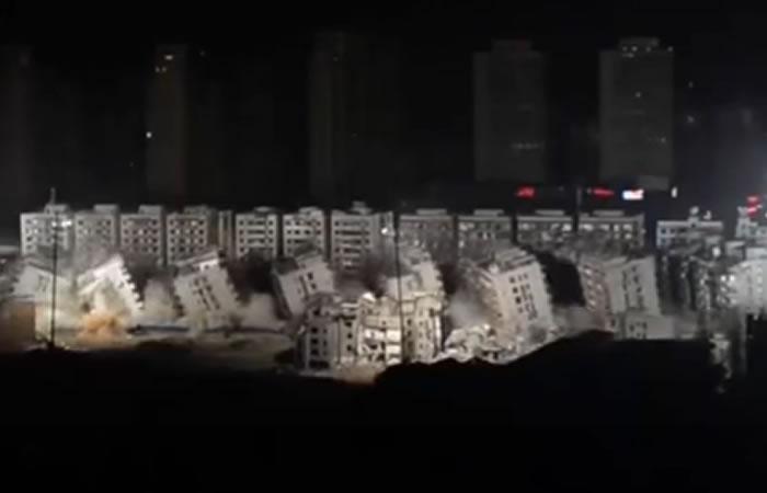 China: Demuelen 19 edificios en diez segundos