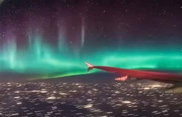 YouTube: Aurora boreal logró ser grabada desde un avión