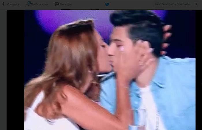 Beso de Amparo Grisales y Pipe Bueno. Foto: Twitter