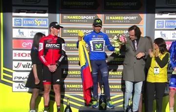 Nairo Quintana y el emocionante himno de Colombia