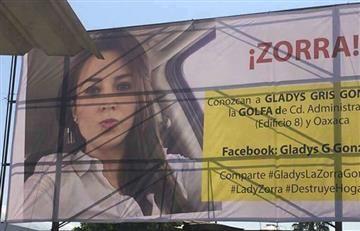 Mujer se venga de la amante de su esposo con este enorme cartel