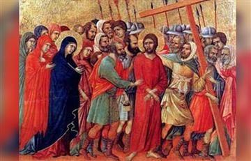 Viacrucis: Estación 5, Simón Cireneo ayuda a Jesús