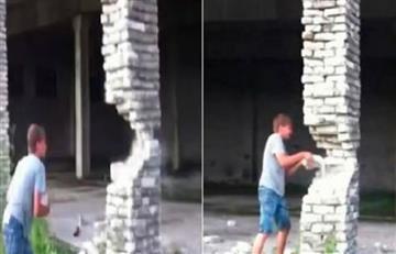 Facebook: Destruyó una columna con ladrillos y el edificio se derrumbó
