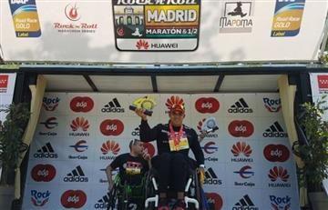 Colombiano paralímpico gana maratón de Madrid, España.