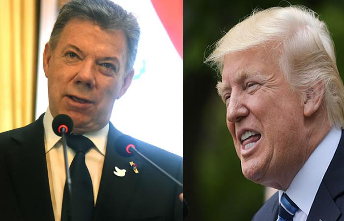 Juan Manuel Santos y Donald Trump. Foto: AFP