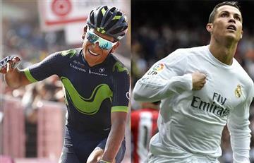 Nairo Quintana y su parecida celebración con la de Cristiano Ronaldo