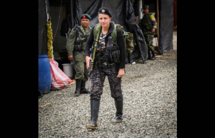 """La guerrillera de las Farc, alias """"Tanja"""", de origen holandés. Foto: Twitter"""