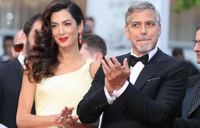 George Clooney junto a su esposa Amal Ramzi. Foto: AFP