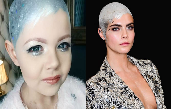 Instagram: Niña con cáncer recrea el look de Cara Delevingne