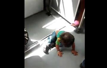 Video: Bebé duerme en el piso de un bus de Transmilenio