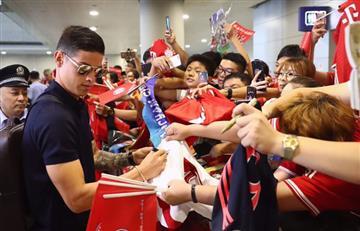 James Rodríguez llegó a China, causó revuelo y él respondió con humildad