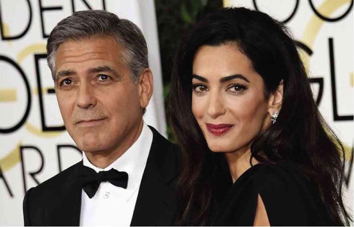 George Clooney y su esposa Amal Alamuddin. Foto: AFP