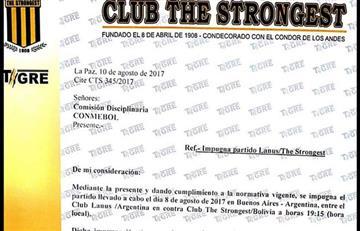 The Strongest impugna partido ante Lanús