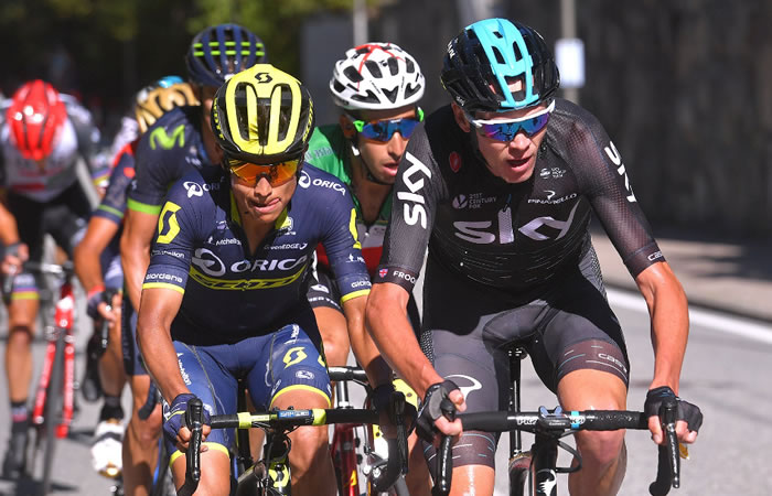 Esteban Chaves y Chris Froome.Foto:TwitterOrica
