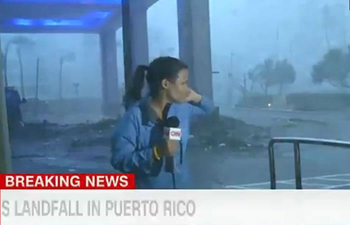 Huracán María: Periodista es arrastrada mientras transmitía en vivo