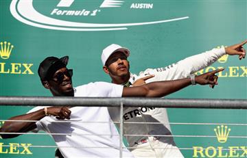 Hamilton gana el GP de EEUU de Fórmula 1 y lo celebra junto a Usain Bolt