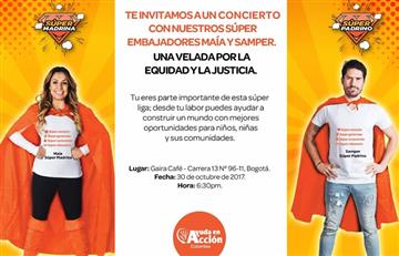 Maia y Samper juntos por la fundación ayuda en acción Colombia