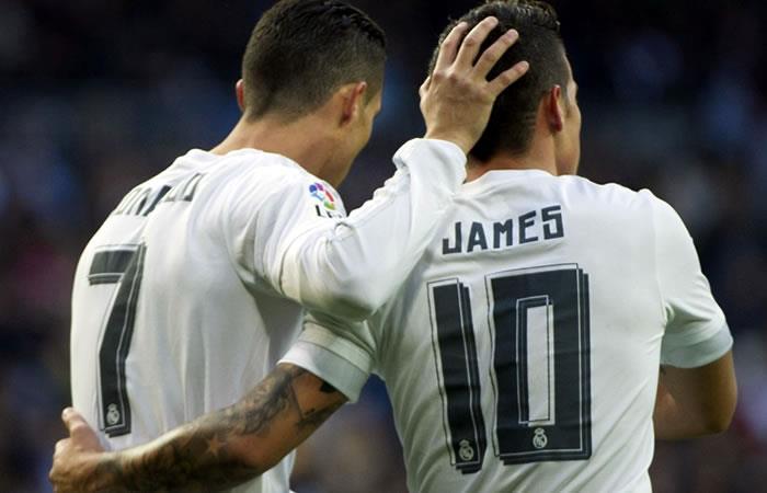 Cristiano Ronaldo y James Rodríguez. Foto: AFP