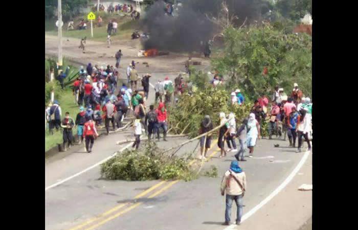 Santos destacó la labor del Esmad en las protestas indígenas