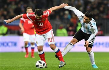 Argentina, con gol de Agüero, venció a Rusia en Moscú
