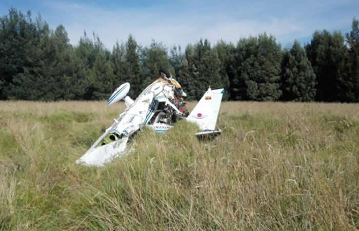 Una avioneta se accidentó en Zipaquirá