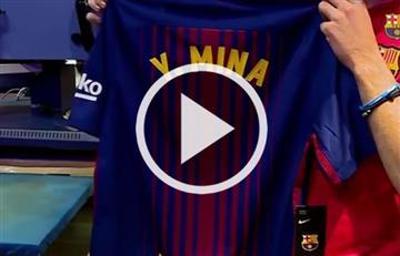 Así estampan el nombre de Yerry Mina en la camiseta del Barcelona