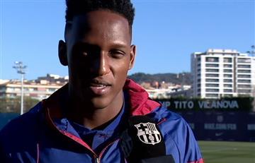 """Yerry Mina: """"Quiero aprender de Messi y ganar títulos con el Barcelona"""""""