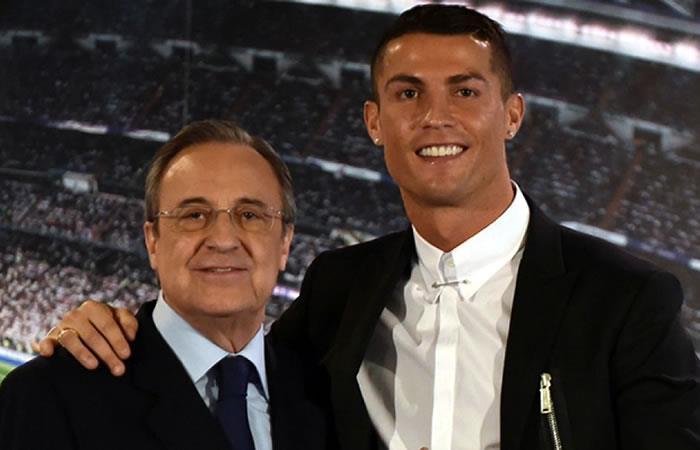 Florentino Pérez junto a Cristiano Ronaldo. Foto: AFP