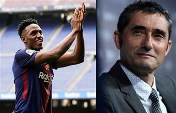 """Ernesto Valverde confesó que tiene """"muchas esperanzas"""" en Yerry Mina"""