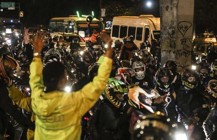 Protestas de motociclistas en Bogotá. Foto: Twitter