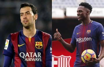 Sergio Busquets elogió a Yerry Mina en el Camp Nou