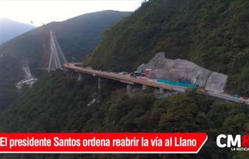 Santos decreta reabrir vía al Llano de manera inmediata